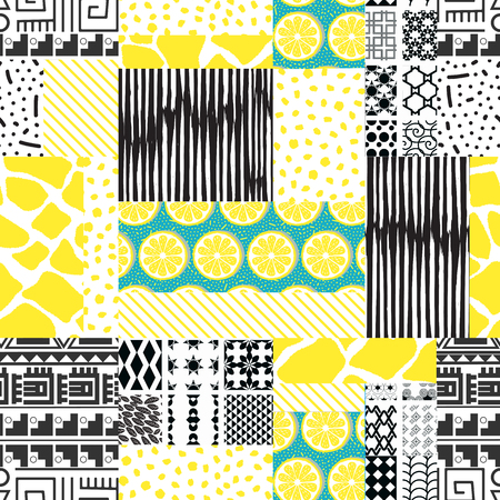 Seamless pattern of rectangles of different textures drawn by hand-vector illustration. Patchwork and lemon print.