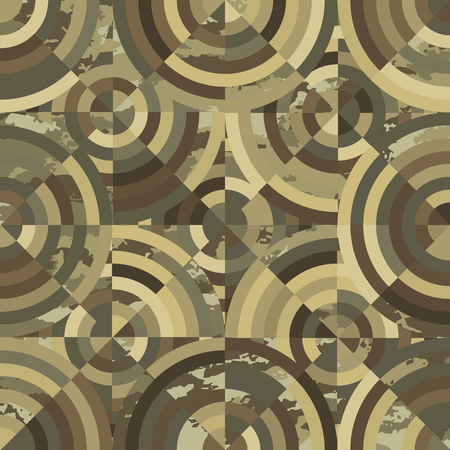 seamless pattern of circles kaleidoscope camouflage-vector illustration. Circular khaki-colored ornament.
