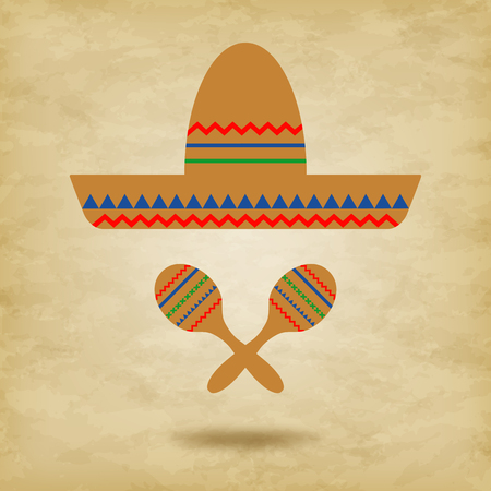 Mexican hat sombrero and maracas icon on grunge background-vector illustration