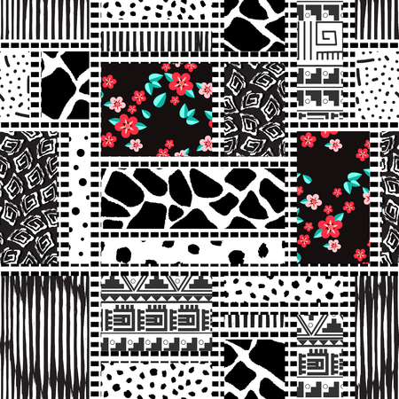 Seamless pattern of rectangles of different textures drawn by hand-vector illustration. Patchwork and floral print.