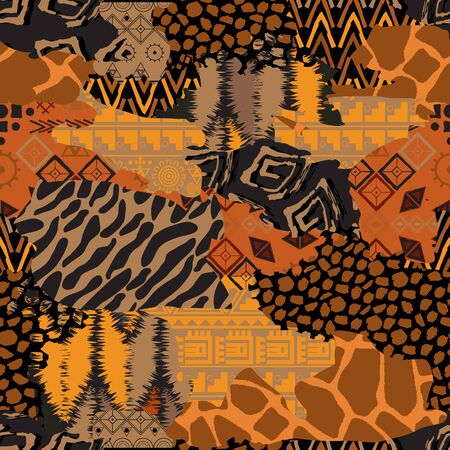 Seamless geometric of different shapes pattern. Abstract Patchwork african background of different shapes. -vector illustration. Exotic ornament of different textures is drawn by hand. Ilustrace