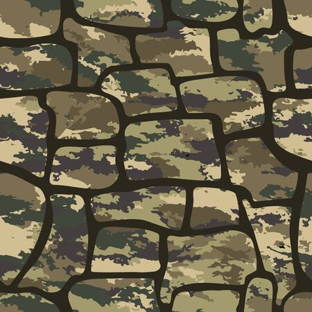 Fashionable camouflage pattern, vector illustration.Millatry print .Seamless vector wallpaper  イラスト・ベクター素材