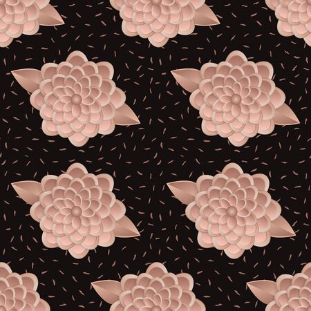 Seamless flower pattern style of paper art-vector illustration. Background in the Memphis style of the 80s with floral ornaments in beige tones.