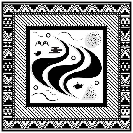 Abstract scarf design pattern-vector illustration. Hijab pattern in the frame of a square. Monochrome colors, geometric shapes with different spot point textures.