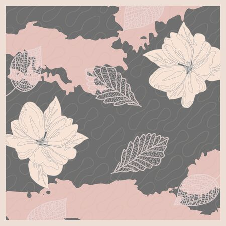 Pattern in calm colors pastel pink delicate background bandana handkerchief with floral ornament. Original retro design of the scarf.  イラスト・ベクター素材
