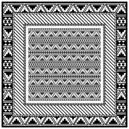 Abstract monochrome scarf design pattern-vector illustration. Hijab pattern in the frame of a triangles.  イラスト・ベクター素材