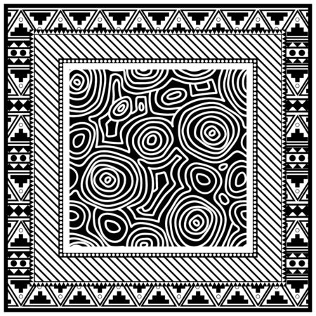 Abstract monochrome scarf design pattern-vector illustration. Hijab pattern in the frame of a square.  イラスト・ベクター素材