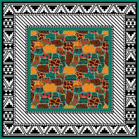 scarf abstract background Ethnic boho pattern in african style on black background. Tribal art print.