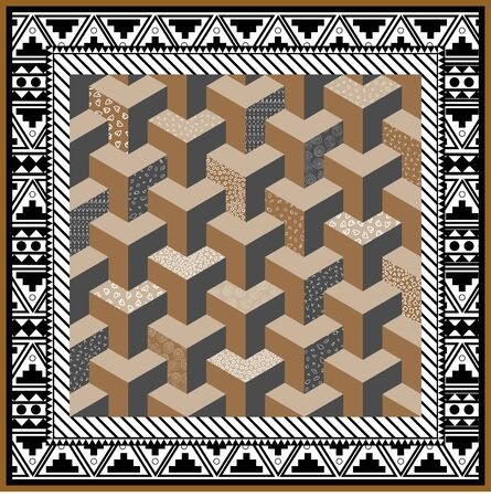 Scarf abstract background.Modern stylish texture. Repeating geometric tiles with hexagonal ornament