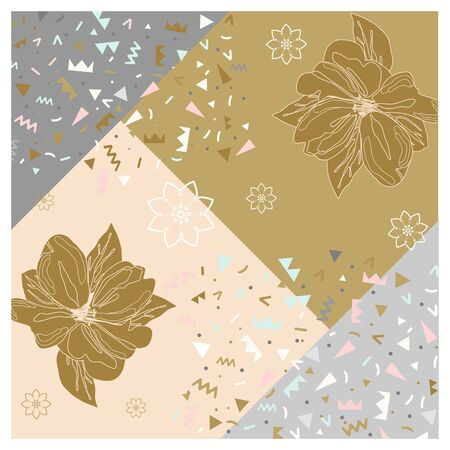 Pattern in calm colors gold delicate background bandana handkerchief with floral ornament. Original retro design of the scarf.
