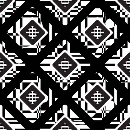 Seamless geometric pattern. Vector abstract classical background in black and white color  イラスト・ベクター素材