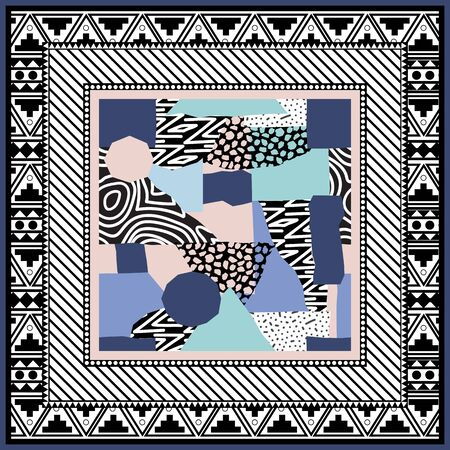 Abstract scarf design pattern-vector illustration. Hijab pattern in the frame of a square. Designed in the style of Memphis. Delicate pink and menthol color