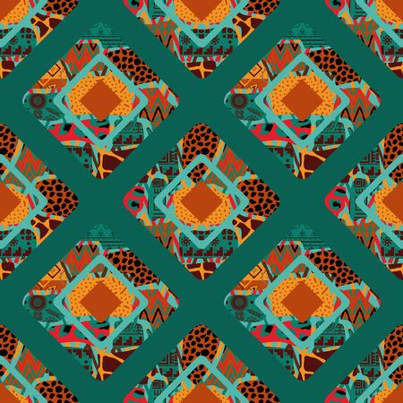Abstract rhombi seamless pattern. Rhombuses grunge textures background. Hand painted colorful natural illustration in patchwork style