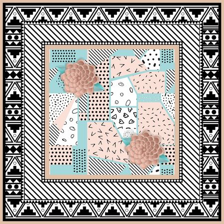 Abstract scarf design pattern-vector illustration. Hijab pattern in the frame of a square. Designed in the style of Memphis. Delicate pink and menthol color style of paper.