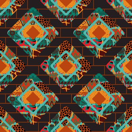 Abstract rhombi seamless pattern. Rhombuses grunge textures background. Hand painted colorful natural illustration in patchwork style with a brickwork background.