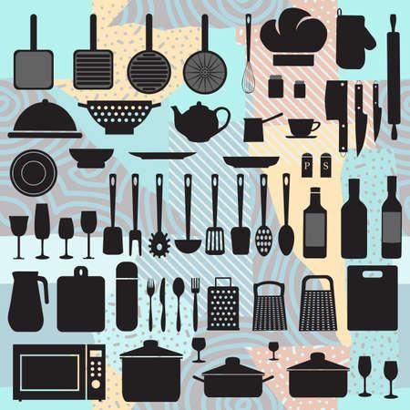 Set utensil vector Illusztráció