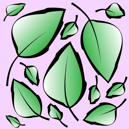 Pattern with green leaves in pastel colors.