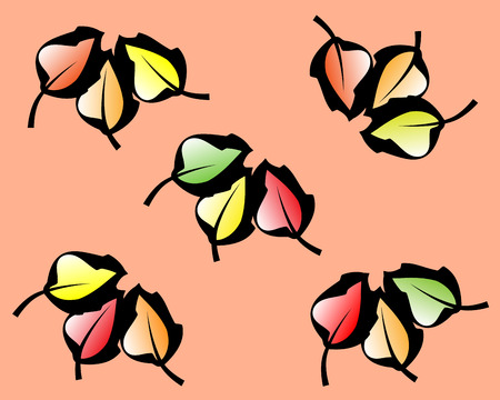 Nice background with calm colours. A pattern of colorful autumn leaves with black outlines . Stock Illustratie