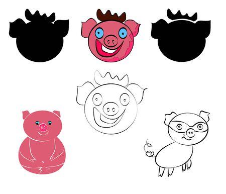 Funny happy pigs set. New Year Symbol.