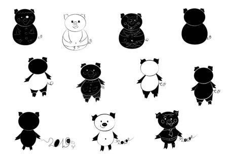 Nice cute hand drawing piglets set. Symbol 2019 Year.