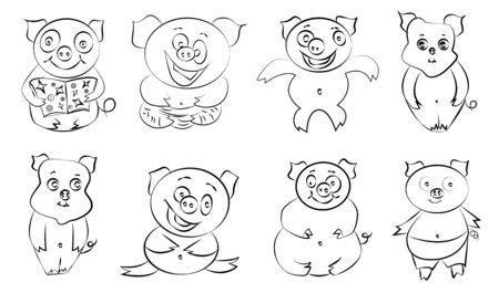 Cute funny happy cartoon style pigs set. Stock Illustratie