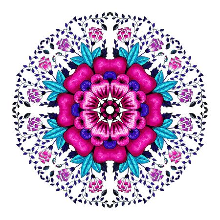 Mandala flowers illustration. Weave design elements. Unusual flower shape. Oriental, anti-stress therapy patterns. Yoga icon illustration.