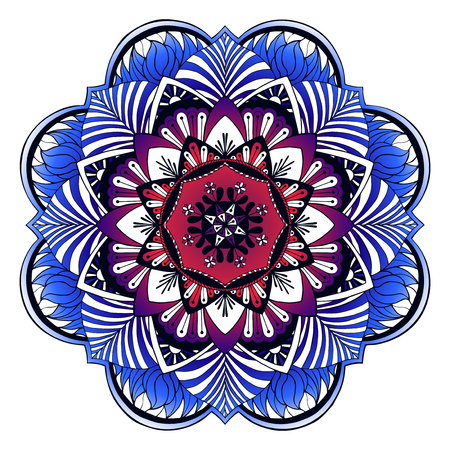 Mandala flowers illustration. Weave design elements. Unusual flower shape. Oriental, Anti-stress therapy patterns. Yoga icon illustration. Illustration