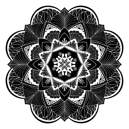 Mandala flowers illustration. Weave design elements. Unusual flower shape. Oriental, Anti-stress therapy patterns. Yoga icon illustration. Ilustração