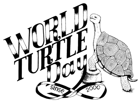 an illustration for a world day of turtle. The modern motto for the T-shirt is made in black and white colors Illustration