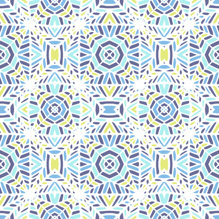 Tribal vector ornament. Seamless African pattern. Aztec style. Geometric mosaic with triangles on the tile. Ancient interior. Modern rug. Geo print Vettoriali