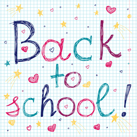 Back to school font illustration. Vector funny cartoon hand drawn colorful. Kid style in different colors.