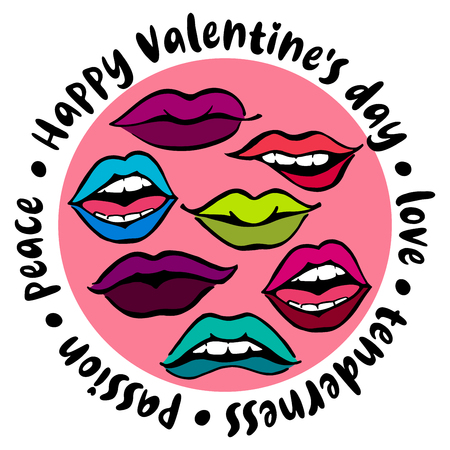 Round illustration to Valentines day_drawn bright lips