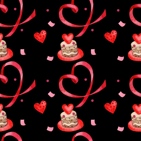 watercolor seamless pattern for valentines day_cute pattern with ribbon heart, hearts on black background Stock Photo