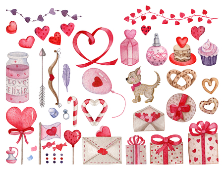 set of watercolor elements for valentines day