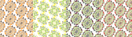 seamless folk pattern with motifs of indians and aztecs. In different color palettes
