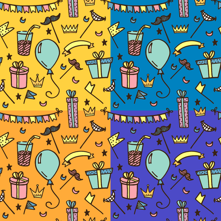 Seamless pattern for kids parties and holidays. In four color options Ilustração