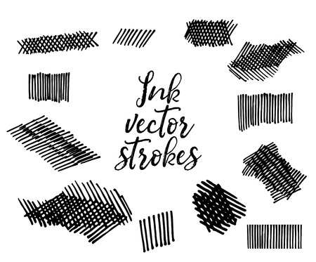 Ink vector strokes. Iisolated on white background. Vector file