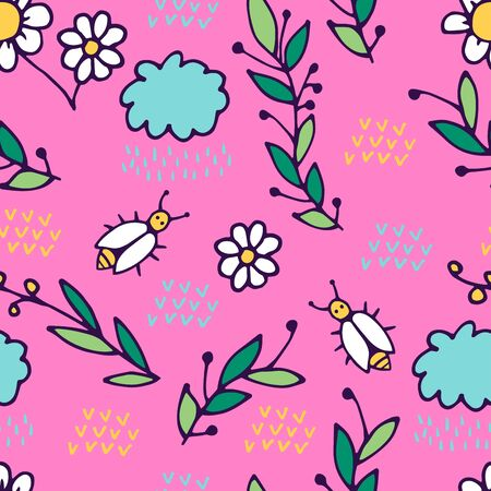 Seamless pattern in cartoon style. includes branches, flowers