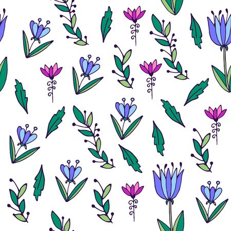 Seamless background in cute style. Hand-drawn flowers