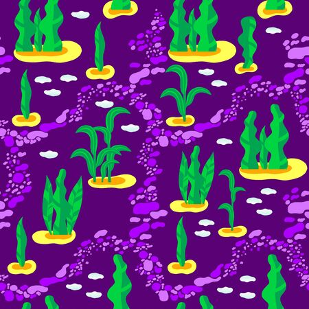 Seamless pattern of leaves on purple. Great for fabric and wallpaper