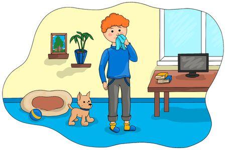 Boy uses a handkerchief. Children vector illustration