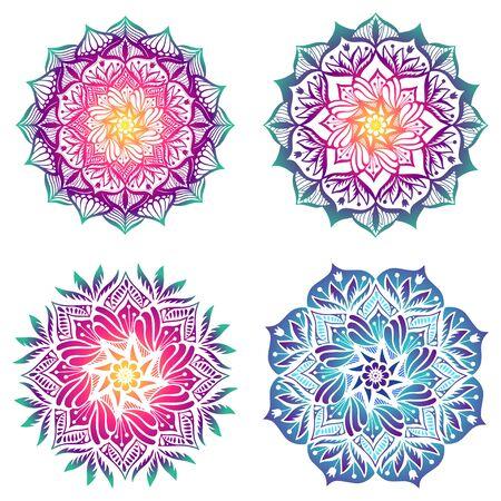 Set of four mandalas. Bright gradient fill Illustration