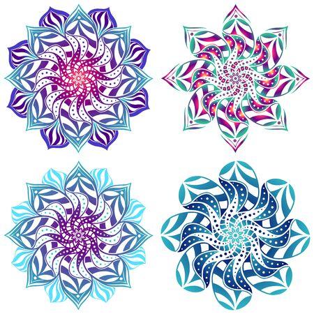 Set of four mandalas bright, stylish illustration