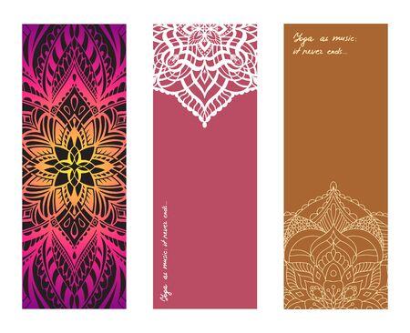Set of yoga mat vector pattern. Vector design mat for yoga practice and pilates exercises Ilustração