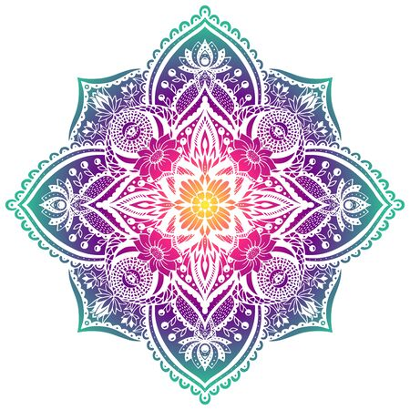 bright decorative vector mandala with floral elements. in cold gamut Banque d'images - 138394307