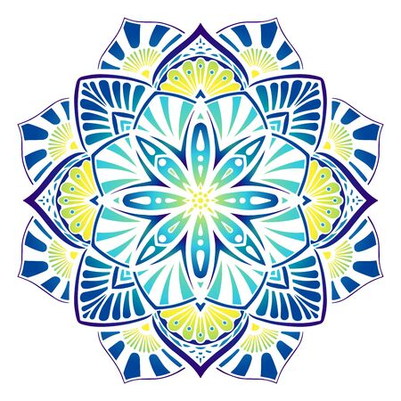 Decorative vector mandala in blue yellow colors. Vector graphic mandala with ethnic motives Vektorové ilustrace