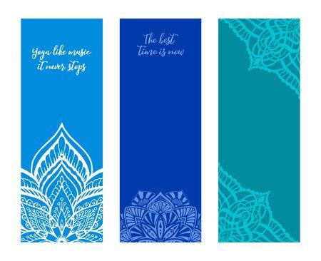 Yoga mat design set. Template for spiritual retreat or yoga studio. Ethnic Mandala towel in blue colors. Vector illustration.