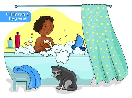 Vector illustration of an afro american baby taking a bath and sitting black cat