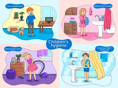 Vector illustration poster baby hygiene. Educational poster for children. Health rules for children, use a handkerchief, wash after sleep, wash, clean the room, vacuum the room, brush your teeth 向量圖像