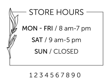 Business hours for cafe. Store schedule design. Linear drawing minimalistic style